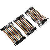 Akozon Conectores de Alambre de Puente Dupont 3pcs Colorido 10cm Jumper Wires 40pin Macho-Hembra / 40pin Macho-Macho / 40pin