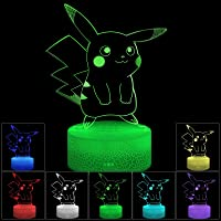 3D Illusion LED Night Light,7 Colors Gradual Changing Touch Switch USB Table Lamp for Holiday Gifts or Home Decorations…