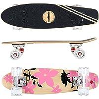 FunTomia® Skateboard Mini Cruiser 57cm - 7ply Strati di Acero Canadese - con o Senza Ruote a LED
