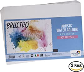 Brustro Watercolour Papers 25% Cotton HP 300 GSM A3 2 Packets (Each Packet Contains 5 sheets)