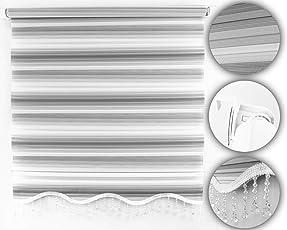 Brillant Gardinen Klemmfix Duo Rollo White-Grey V05 Fenster/Tür Doppelrollo,Sonnenschutz