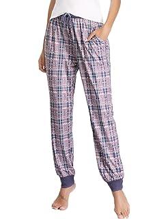587c806274fef5 Hawiton Damen Schlafanzughose Druck Pyjamahose Nachtwäsche Lange Hose Pants  mit Muster