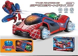 Kids_Bazar Flashing LED Spiderman Stunt Toy Car 3D Light,Sound RC Boy Racing Gift