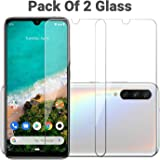 POPIO Tempered Glass for Xiaomi Mi A3 (Transparent) Full Screen Coverage (Except Edges), Pack of 2