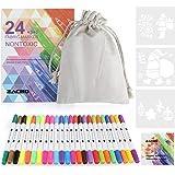 Zacro Rotulador Tela Permanente 24 Colores Marcadores Permanente de Doble Punta para colorear ropa,vaquera, camisetas,100% No