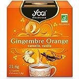 Yogi Biologique Gingembre Orange, Infusion 100% Bio, 12 Sachets thermosoudés et sans agrafe, 21.6 g, 310511
