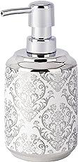 Wenko 22620100 Seifenspender Barock, Flüssigseifen-Spender, Fassungsvermögen 0,4 L, Keramik, 8 x 16,5 x 9 cm, weiß
