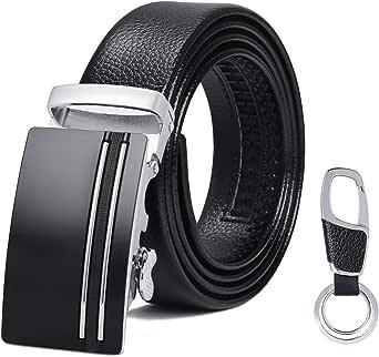 flintronic® Cintura Uomo, Cintura da Uomo in Pelle con Fibbia Automatica, Moda Cintura a Cricchetto 3.5cm * 130cm, con Portachiavi e Confezione Regalo