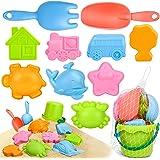 Sanlebi Barn strandleksak, sandslott lekset med hinkspade kratta och andra modellverktyg kit, sommarstrandspel för barn småba