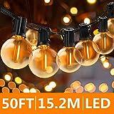 Svater Catena Luminosa Lampadina, 50FT/15M Commerciale Catena Lampadine LED Esterno con 50 G40 Bulbi, Vintage Luce per…