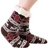 JARSEEN Mujer Hombre Navidad Calcetines Invierno Calentar Pantuflas de Estar Por Casa Super Suaves Cómodos Calcetines Antides