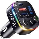Bovon FM-zender, PD 18W & QC3.0 Bluetooth 5.0 Draadloze autoradio-adapter Muziekspeler met microfoon 9 RGB LED-achtergrondver