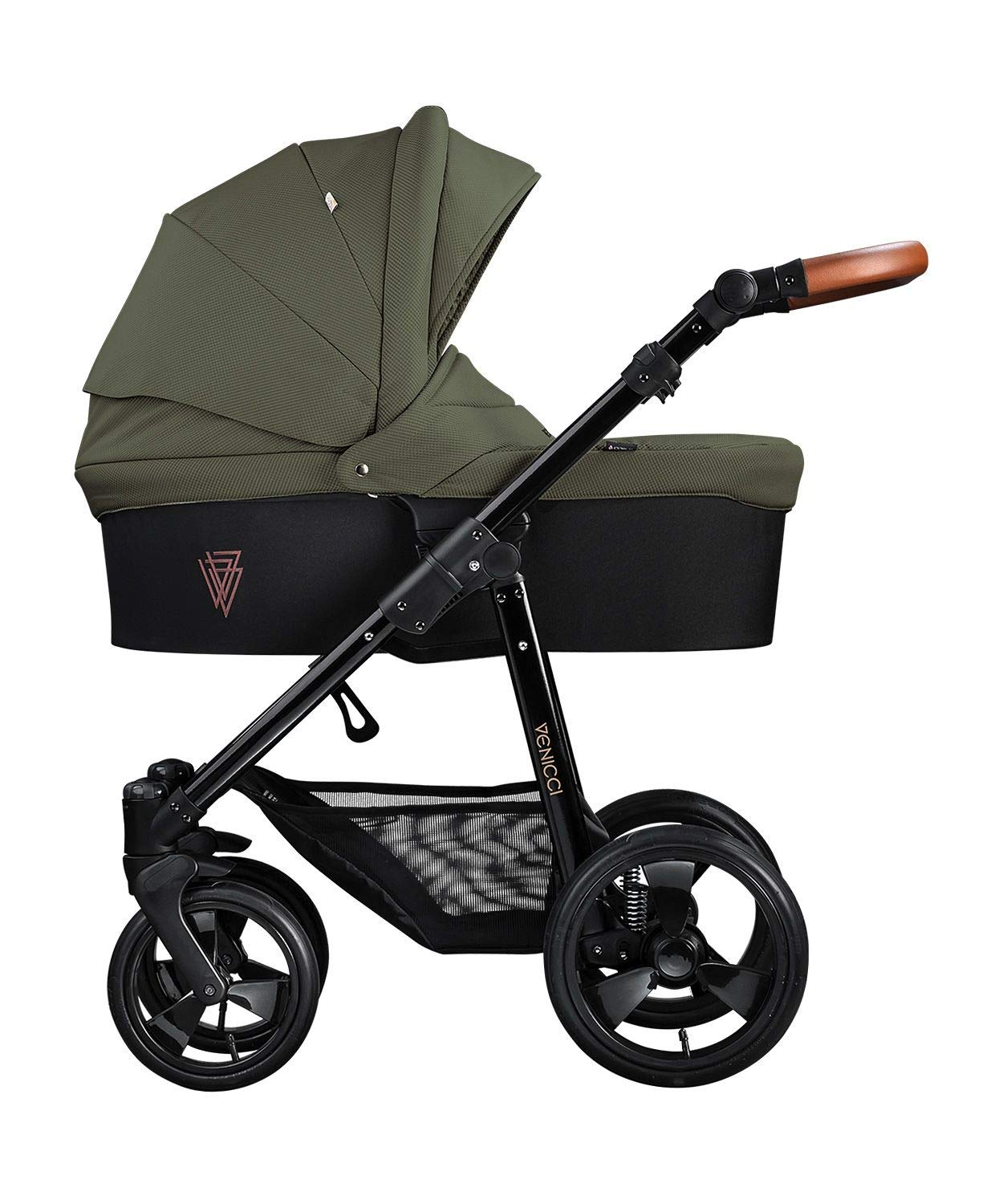 Venicci Gusto 2-in-1 Travel System - Green - with Carrycot + Changing Bag + Footmuff + Raincover + Mosquito Net + 5-Point Harness and UV 50+ Fabric + Cup Holder Venicci 2-in-1 Pram and Pushchair with custom travel options Suitable for your baby from birth until approximately 36 months 5-point harness to enhance the safety of your child 2