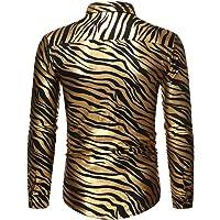 URPRU Mens Adults 70s Metallic Zebra Print Dance Disco Shirt Slim Fit for Prom Wedding Party Club Carnival Button Shiny…