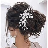 Unicra, fermaglio per capelli a forma di pianta rampicante con fiori e pietre, colore argento, ideale per acconciature da spo