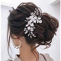 Unicra, fermaglio per capelli a forma di pianta rampicante con fiori e pietre, colore argento, ideale per acconciature…