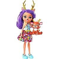 Enchantimals Mini-poupée Danessa Biche et figurine animale Sprint aux longs cheveux violets bouclés, jupe amovible et…
