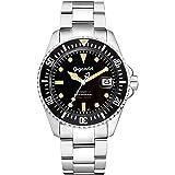 Gigandet Reloj de Hombre Automático Sea Ground Vintage Reloj de Buceo Analógico Correa de Acero Negro Plata G2-007