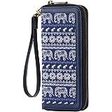 HAWEE Lange Handtasche aus Leder mit Reißverschluss für Handy, Kartenhalter, Münzbörse