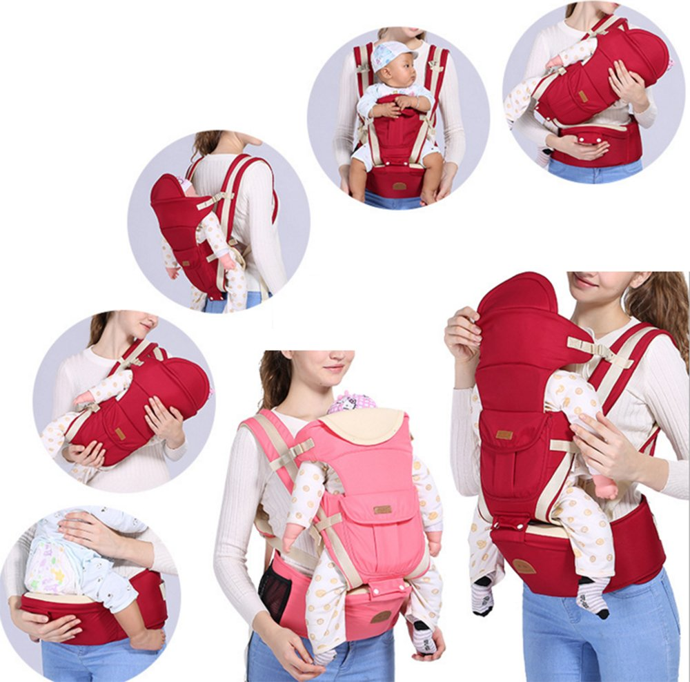 Multifunctional Baby Waist Stool 6 in 1 Baby Carrier Detachable Hip Joint Wide Shoulder Strap Easy and Effort babao 【Perfect for All Seasons】100% organic cotton and breathable mesh material make it soft and comfortable for you and baby skin. Adjustable and demountable temperature-regulation anti-wind hood allows you to keep cooling or warm as you need 【many Carrying Positions and Many Usages】many or out ward facing with or without the hip seat and as a hip seat for infants with the mom or dad detached.Besides, more positions can be allowed as pictures show 【Multifunctional & Adjustable Baby Carrier】Ergonomic positioning of baby seat allows baby's thighs to be supported to the knee joint. The forces on the hip joint are minimal because the legs are spread, supported, and the hip is in a more stable position. Also provides carrying comfortable for adults with wide adjustable lumbar support belt with Velcro and buckle for added safety and strength, and wide adjustable shoulder straps to accommodate both forward and rear positions 7