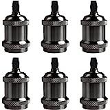 DiCUNO Vintage E27 douille de lampe, Edison retro suspension lampe, Solide céramique adaptateur, 6 Pièces noir perle socket