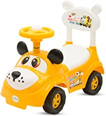Baybee Rusty Ride On Push Car Toy I No batteries, Gears, or Pedals,Twist, Turn Push Car Toy for endless fun I Suitable For Boys & Girls - Yellow