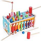 Fascol 7 en1 Jouet Enfant en Bois Jeux Montessori ,Banc à Marteler Instrument de Musique Enfant Jouets, Jouet Éducatif AVCE X