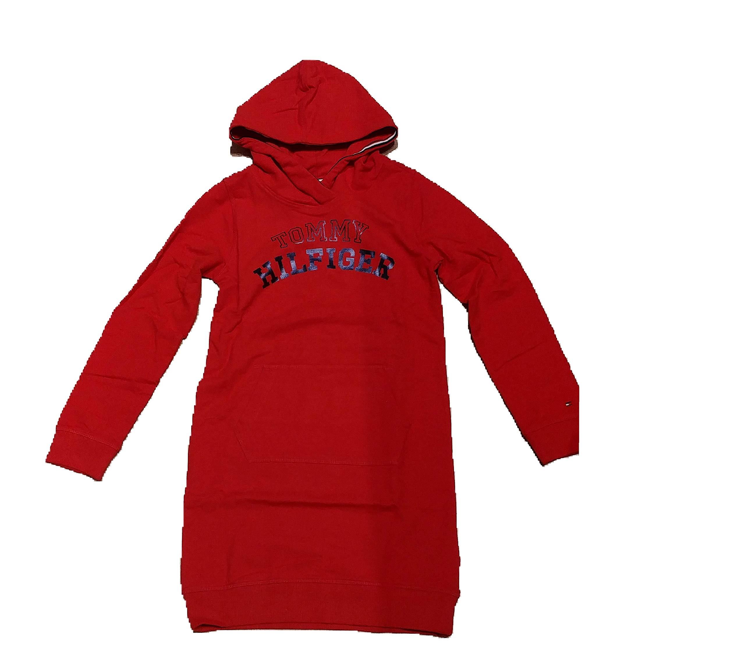 Tommy Hilfiger – Essential Logo Hoodi – Vestido Rojo con Capucha NIÑA