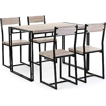 Vonhaus Rustic Dining Set Modern Industrial Design 4 Seater Wooden