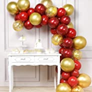 PartyWoo Red and Gold Balloons, 50 pcs Burgundy Balloons, Ruby Red Balloons, Gold Confetti Balloons, Gold Metallic Balloons f