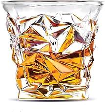 HENNIGER Diamond Cut Seamless Transparent Whiskey Glass(300ml) - Set of 6