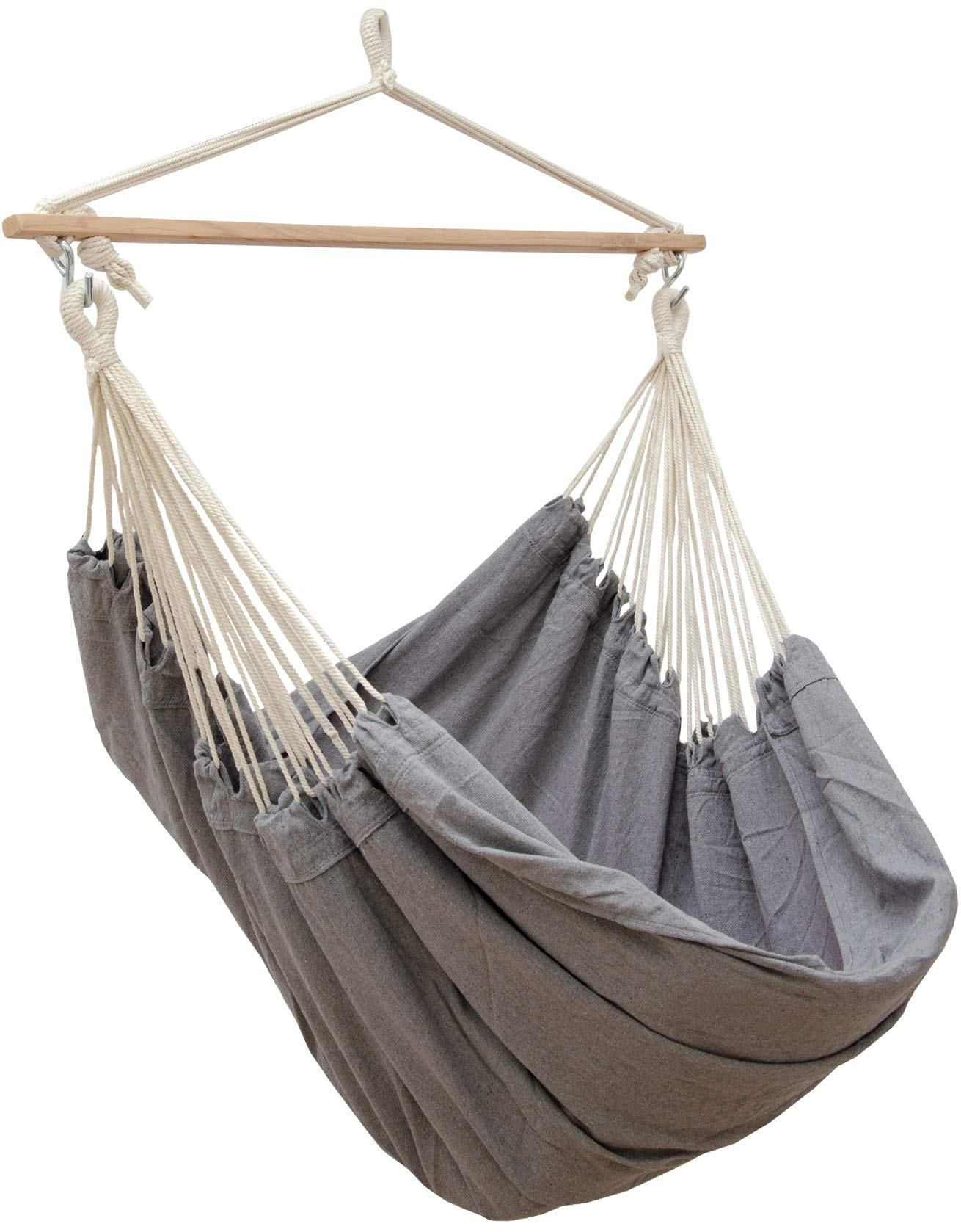 AMANKA Swing Hammock 185x130cm EXTRA-SAFE max 150Kg large cotton hanging chair XXL suspended swinging fabric seat Grey AMANKA SAFE HANGING SYSTEM - with this model there is no chance that the cloth slips out of the bar: our sturdy wooden bar is 115cm long and equipped on both ends with 3 holes in order to tie the ropes tightly and prevent any accident! COMFORTABLE - the breathable cotton fabric measures approx. 185cm in width and 130cm in length. This means that it can be used by any member of the family and not just for sitting down but also for comfortably lying down. Supported weight: max. 150kg 100% NATURAL COTTON - the fabric is resistant and durable (320g/m²), delicate even on direct contact with your skin. The huge cloth is hung on 2 S-shaped metal hooks and can be quickly washed in the washing machine at 30°C 1