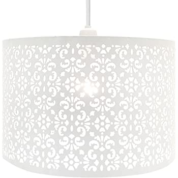 dc523cee280 Chandelier Chic Ceiling Light Pendant Shade Crystal Droplet Fitting Easy Fit  (LARGE METAL SHADE WHITE