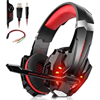 Willnorn Stereo Gaming Headset with Mic for PS4,Xbox One,PC,Nintendo Switch,Mac/Noise Cancelling Wired Over-Ear Headphones with Microphone & Volume Control,3.5mm Jack,LED Lights, Bass Surround(Red)