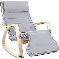 Songmics LYY42G Chaise à Bascule 5 Positions avec Support réglable pour Pieds Gris Clair, Charge Max. 150 kg, 67 x 115 x 91 cm