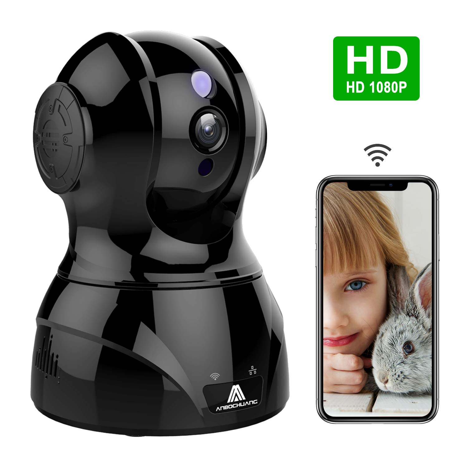 1080P HD Wifi IP Camera, Wireless Security Camera, Baby Monitor with 2-Way  Audio, Night vision Motion Detection,Pan/Tilt/Zoom, Indoor Home Monitor for