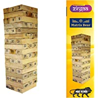 Matrix Bear 51 Pcs Blocks with 4 Dices Wooden Numbered Building Bricks Stacking Game, Stacking Tower, Block Stacking…