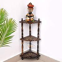 Classic Shoppe Multipurpose Mini Corner 3-Tier Corner Rack Shelves - Brown Side Corner