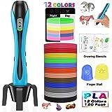 Stylo 3D Lovebay【2019 Nouvelle Version】3D Professionnel Pen Set Stylo d'Impression 3D avec Ecran LCD+12 Multicolores Filament PLA Φ1,75 mm,Total 120 pieds,Meilleur Cadeau-Pour Enfant et Adulte