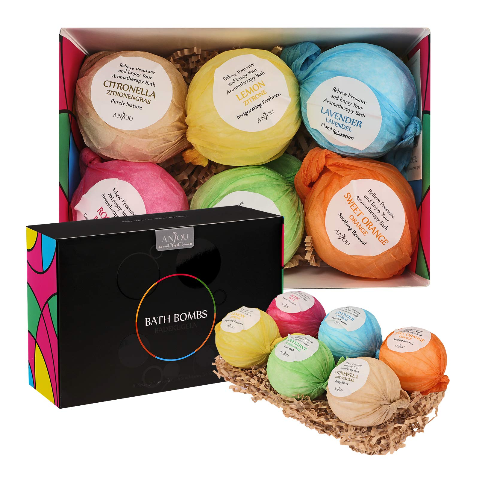Bath Bombs Set by Anjou, 6 x 100g Bath Bombs Kit, Perfect for Aromatherapy, Relaxation, Moisturizing with Organic and Natural Essential Oils, Jojoba Oil and Shea Butter