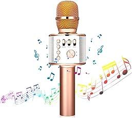 Microfono wireless, NASUM microfono Bluetooth Kara OK rosa, 4.1 Altoparlante per registrazione vocale e vocale, party, casa, podcast. Compatibile con IOS/Android, PC o tutti gli smartphone