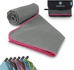 BERGBRUDER Mikrofaser Handtuch mit Tasche - Microfaser Handtücher in vielen Größen und Farben - Ultraleicht, kompakt & schnelltrocknend - Reisehandtuch, Sporthandtuch, Badetuch - 1er Pack und 2er Set
