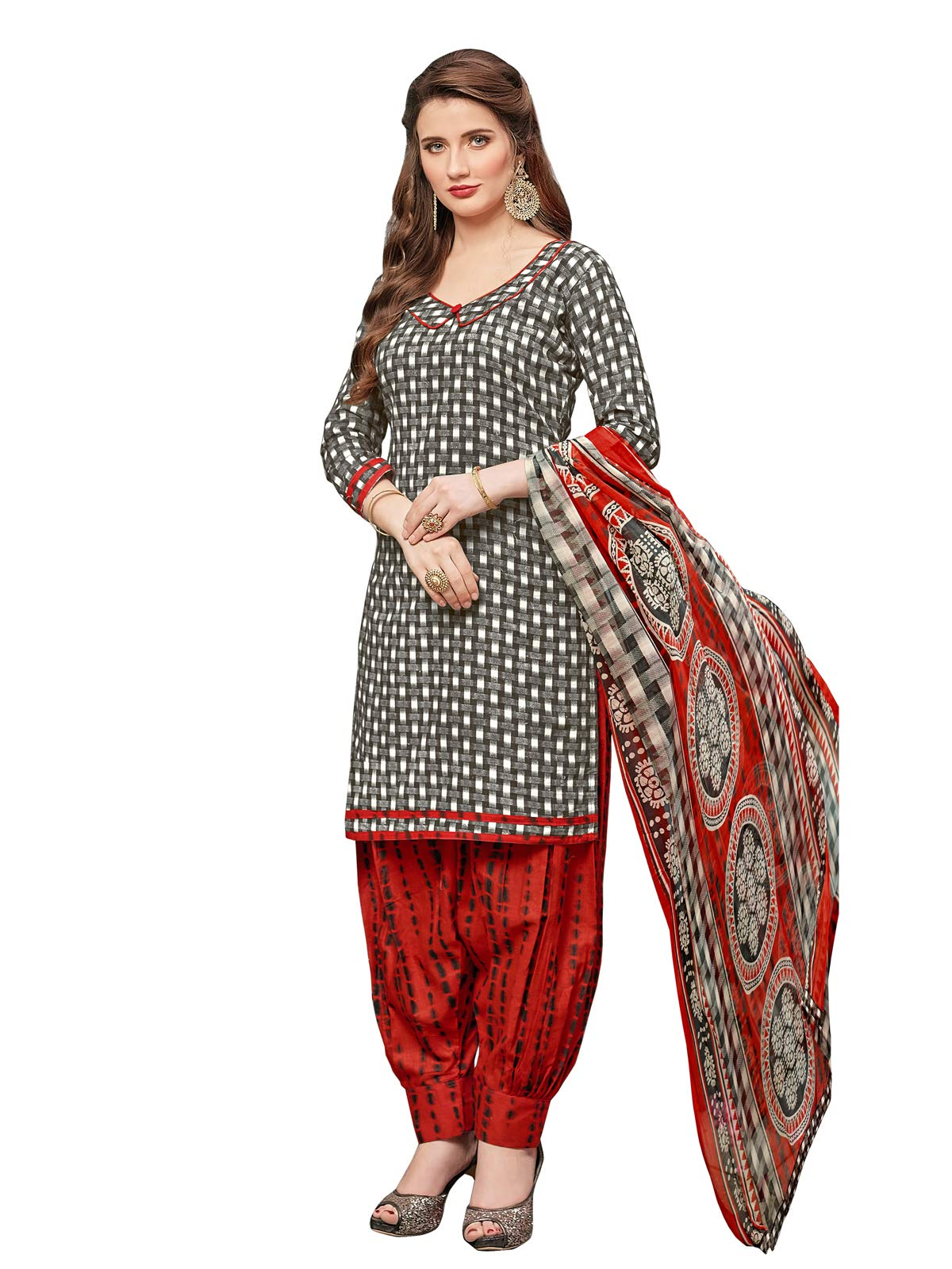 Kanchnar Women's Cotton Printed Patiyala Dress Material