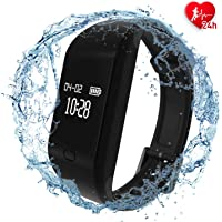 fitpolo Gesundheit Fitness Tracker HR - Pulsmesser Smart Armband, IP67 Waterproof Activity Tracker mit Schlafmonitor, Schrittzähler, Kalorienzähler, Schrittzähler für Kinder Frauen Männer