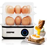 Geepas 2 in 1 Egg Boiler and Poacher – Capacity for 16 Eggs - Electric Egg Cooker, Poaching Bowl & Measuring Cup with Egg Piercer Included - Perfect Soft Medium & Hard Boiled Eggs - 2 Year Warranty