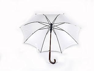 Shroff's Anchor Large White Wooden J Handled Umbrella