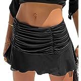 Mosiolya Women's Sexy, Ruffle, Tennis Skater Skirt, Short, Stretch, A-Line Skirt