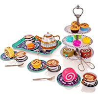 Milly & Ted 39 Piece Afternoon Tea Party Teaset For 4 - Childrens Metal Tea Set - Pretend Play Food Cakes Biscuits