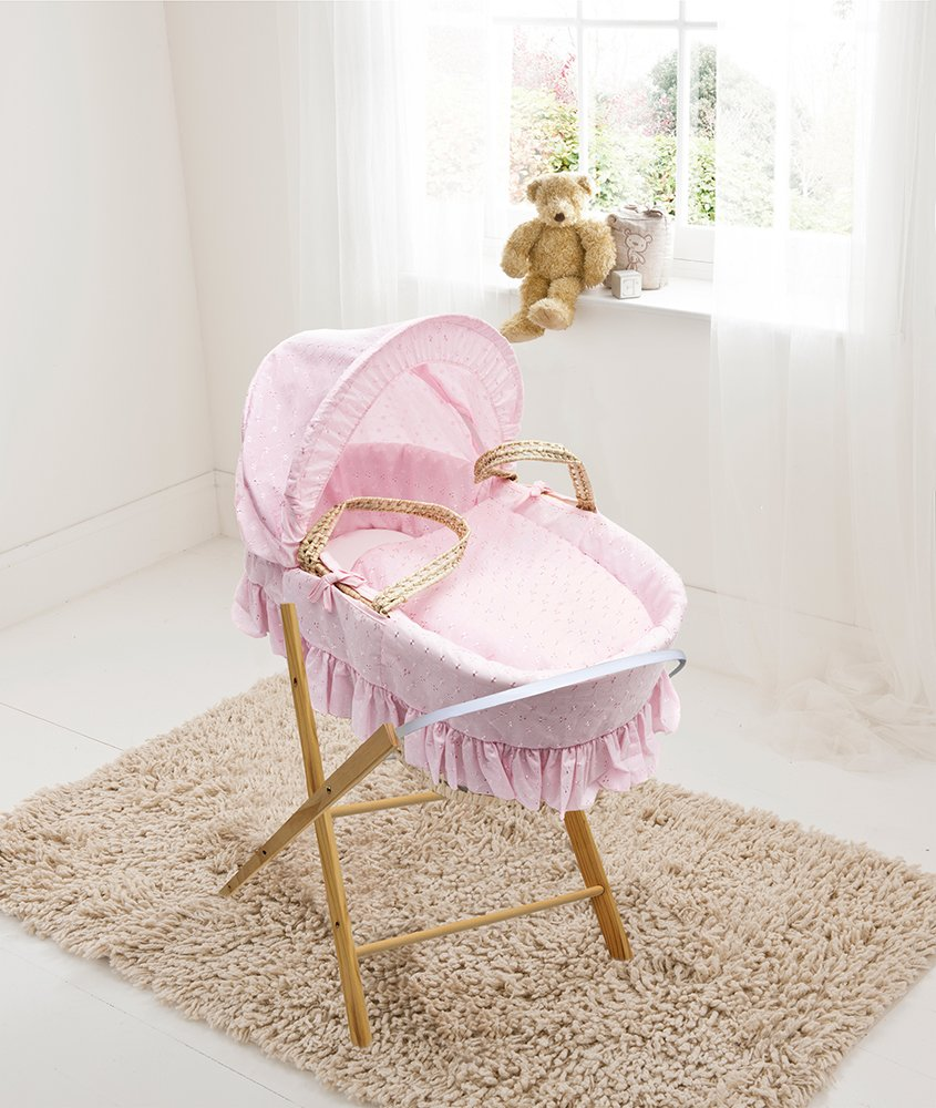 Pink Broderie Anglaise Palm Moses Basket & Folding Stand Elegant Baby Suitable from newborn for up to 9kg, this Moses Basket uses Easy-care Poly Cotton with a soft padding surround Suitable from newborn to 9 months It also includes a comfortable mattress and an adjustable hood perfect to create a cosy sleeping space for your precious little one 1