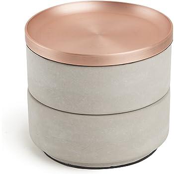 Umbra Tesora Box. Boîte à Bijoux Tesora, en résine de béton et métal cuivré. Dimension 12.7cm x 11.4cm